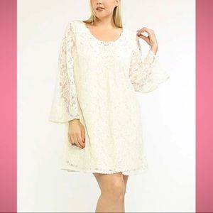 Flying Tomato White Lace Shift Dress Bell Sleeves